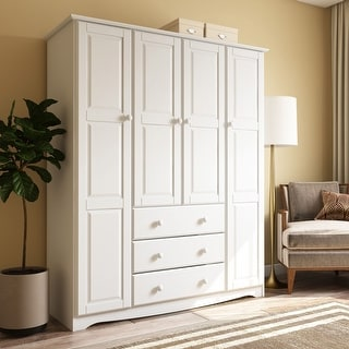 "Link to Palace Imports Family 4-door Solid Wood Wardrobe (No Shelves Included) - 60.25""W x 72""H x 20.75""D - 60.25""W x 72""H x 20.75""D Similar Items in Bedroom Furniture"