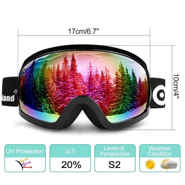 1487ab742e Odoland S2 General OTG Ski Goggles Double Anti-Fog Lenses w  UV400  Protection for