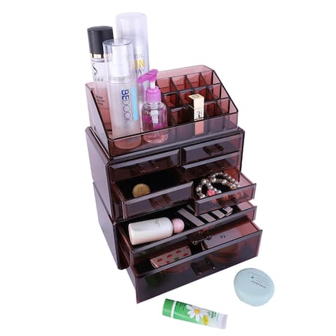 Plastic Cosmetics Storage Makeup Case Rack 6 Small and 2 Large Drawers