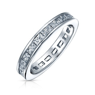 Link to Channel Princess Cut CZ Wedding Band Eternity Ring 925 Sterling Silver Similar Items in Rings