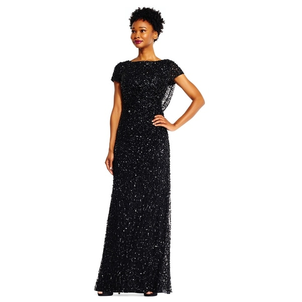 9a6a6300a Shop Adrianna Papell Women's Short Sleeve Sequin Beaded Gown with Cowl  Back, Black, 6 - Free Shipping Today - Overstock - 24121130