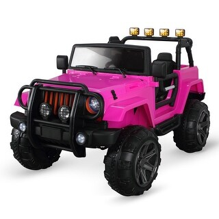 Kidzone 2 Seater for Toddlers, Electric Ride On Car Truck with Parental Remote Control and Led Lights - Pink