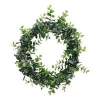 "8.75"" Sparkling Silver and Green Grass Decorative Christmas Wreath"