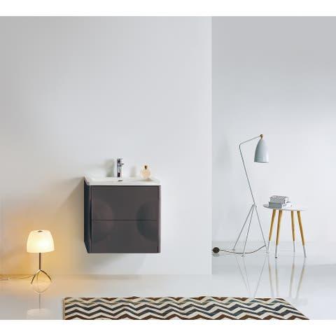 "COLMAR 24"" Dark Gray/Light Gray Wall Mount Modern Bathroom Vanity Set"