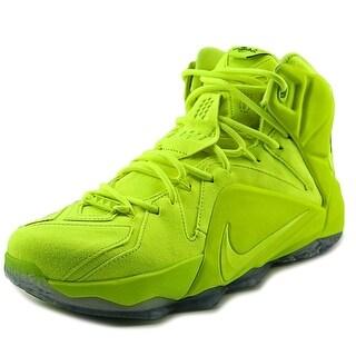 Nike Lebron XII Ext Men Round Toe Synthetic Yellow Basketball Shoe