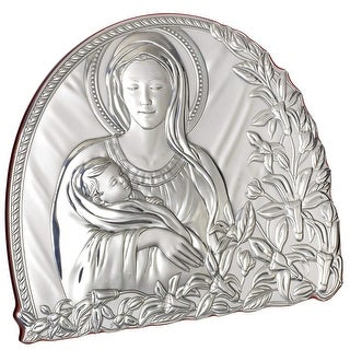"Italian Sterling Silver Argento Madonna and Child Religious Icon - 4"" x 2"" x 4"" inches"