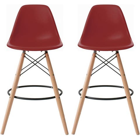 "2xhome Set of 2 Modern 28"" Color Seat Height DSW Molded Armless Plastic Counter Bar Stool Natural Wood Eiffel Dowel Legs Kitchen"
