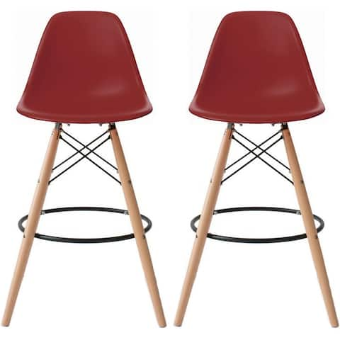 "2xhome Set of 2 25"" Designer Eiffel Chairs Counter Stools with Backs Side Molded Shell Kitchen Office Dining Dowel Bar Patio"