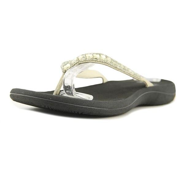 Easy Street Token Women Open Toe Canvas White Thong Sandal