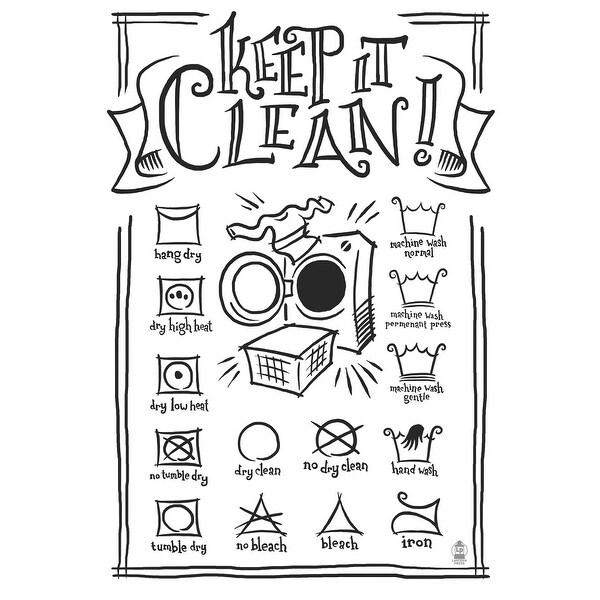 Laundry Symbols (White) - LP Artwork (Acrylic Wall Clock)