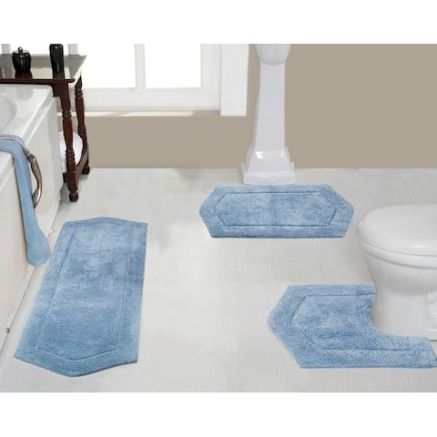 "Waterford Collection Genuine Absorbent Cotton 3-piece Bath Rug Set 17""x24"", 21""x34"", 20""x20"""