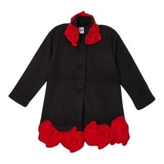 Girls Black Flower Border Matching Collar Coat 7-12 (4 options available)