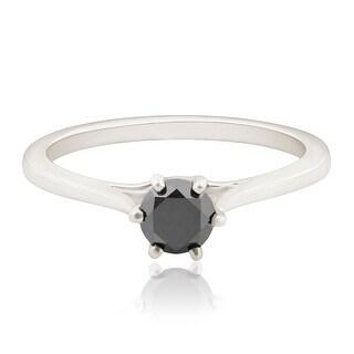 Six Prong Set 0.28 Carat Black Diamond Solitaire Engagement Ring