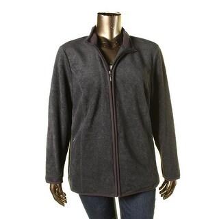 Karen Kane Womens Plus Mock Turtleneck Fleece Basic Jacket - 2X