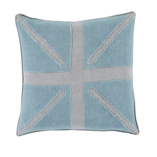 "22"" Summer Sky Blue and Cloud Gray Decorative Throw Pillow – Down Filler"