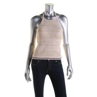 Free People Womens Linen Blend Halter Casual Top - L