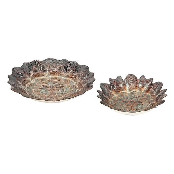 Set of 2 Dyed Copper Brown Glass Decorative Bowl 16""