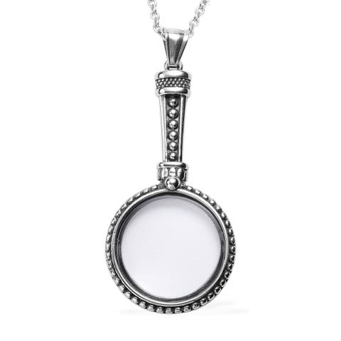 Stainless Steel Magnifying Glass Pendant Jewelry Necklace Inch - Necklace 24''