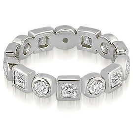 1.12 cttw. 14K White Gold Princess and Round Diamond Eternity Ring