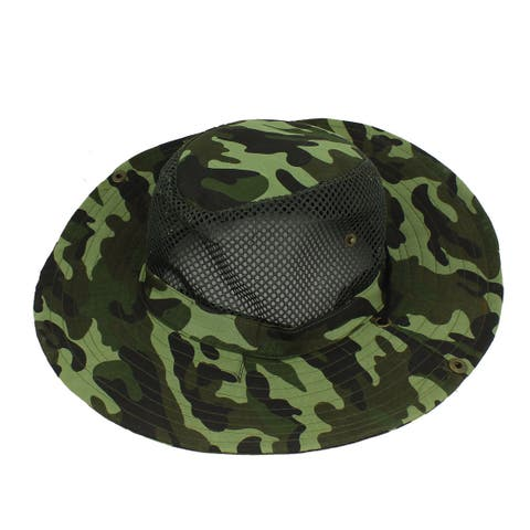 Unique Bargains Fishing Hiking Mesh Design Camouflage Pattern Sun Hat Fish Cap Army Green