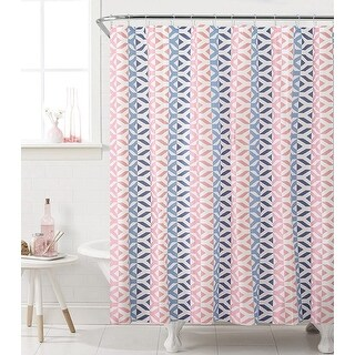 Sheena 13-Piece Geometric PEVA Shower Curtain With Hooks, Coral-Blue, 72x72 Inches