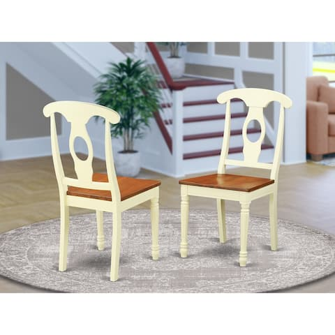 Napoleon-styled Wooden Dining Room Chair with Panel Back set of 2 - Buttermilk/ Cherry - KEC-WHI-W