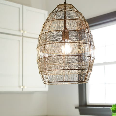 The Curated Nomad Cordilleras Oversized Woven Cage 1-light Pendant