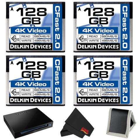 Delkin Devices 128GB Cinema CFast 2.0 Memory Card (4-Pack) + SanDisk Extreme PRO CFast 2.0 Reader/Writer Bundle