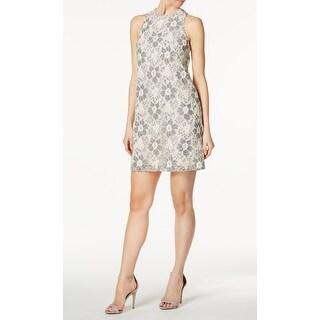 Rachel Rachel Roy Beige Gray Women Size XL Floral Lace Sheath Dress