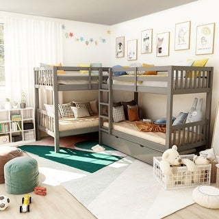 Link to Furniture of America Jis Modern Twin Solid Wood L-shaped Bunk Bed Similar Items in Kids' & Toddler Beds