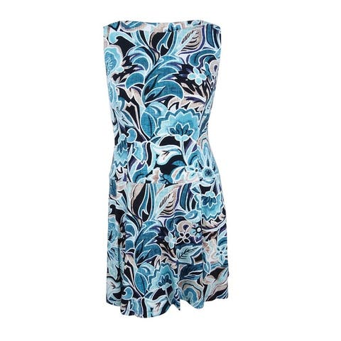 Connected Women's Floral-Print Fit & Flare Dress - Teal