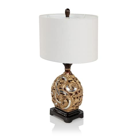 Gracewood Hollow Filipovic Goldtone Table Lamp with Cream Drum Shade