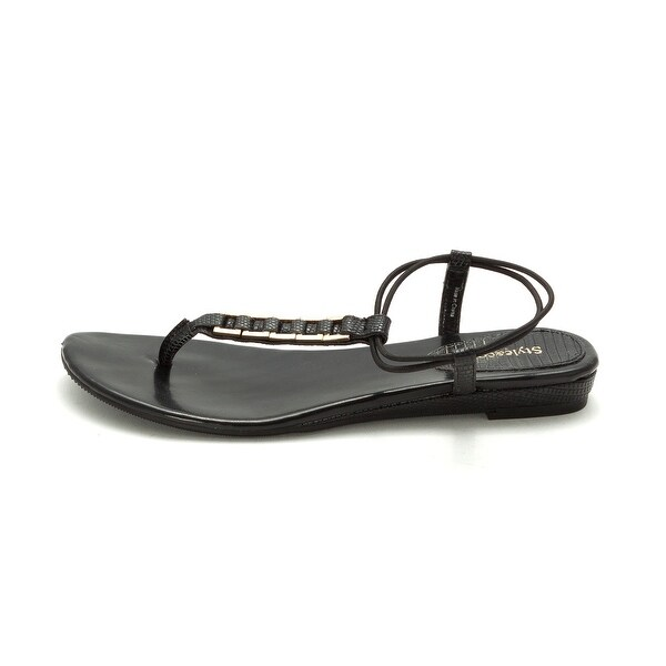 Style & Co. Womens Edith Split Toe Casual T-Strap Sandals, Black, Size 6.5