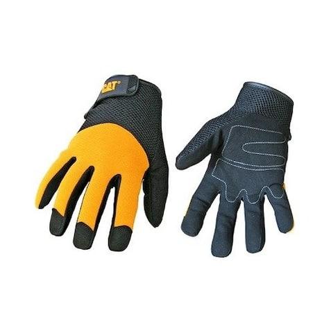 Cat CAT012215J Men's Padded Palm Glove, Jumbo, Black & Yellow