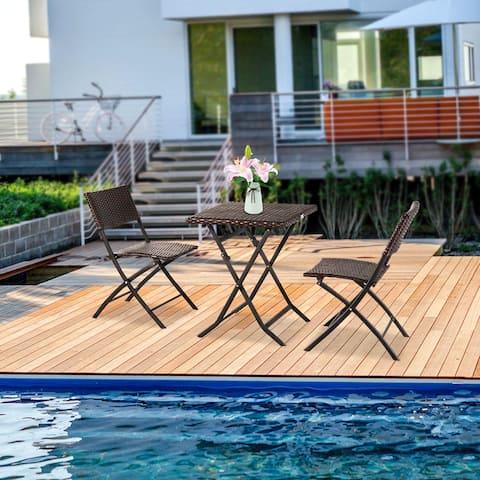 3-Piece Garden Folding Rattan Chair Square Table