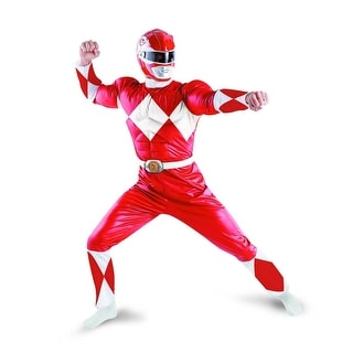 Power Rangers Red Ranger Deluxe Adult Costume w/ Helmet Large 12-14,X-Large 42-46