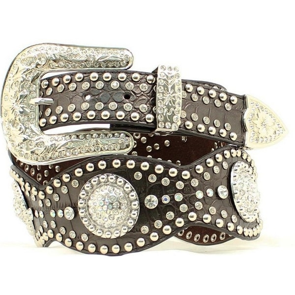 Nocona Western Belt Womens Wide Scallop Conchos Croc Black
