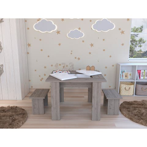 TUHOME Study and play activity table and chairs in light gray