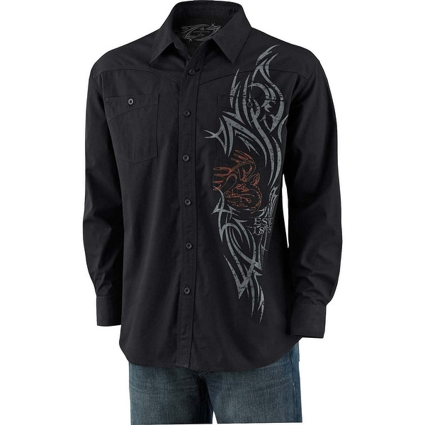 Legendary Whitetails Men's Razor's Edge Slim Button Down Black Shirt