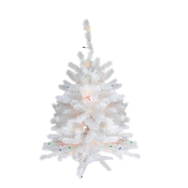 "18"" x 11"" Pre-Lit Snow White Artificial Christmas Tree - Multi-Color LED Lights"