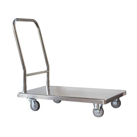 "Offex 500 lbs Capacity Stainless Steel Platform Truck with 26.5"" High Hand Rail - Silver"