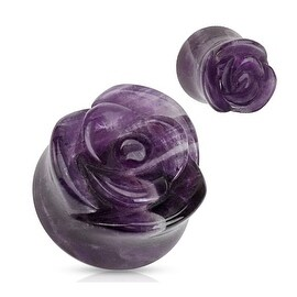 Amethyst Semi Precious Stone Rose Carved on Single Side Double Flared Plug (Sold Individually)