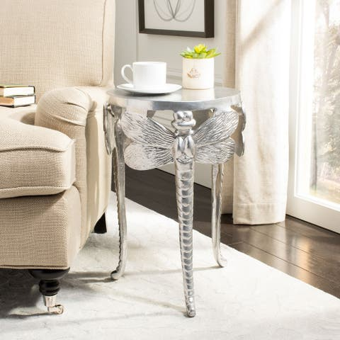 Safavieh Melika Dragonfly Legs Accent Table - Distressed Gold / White - 14 inch  x 14 inch  x 20 inch