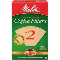 Melitta Super Premium #2 Cone Paper Coffee Filters Natural Brown, 40 Count, 2 Pack