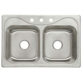 "Sterling 11850-3 Southhaven 33"" Double Basin Drop In Stainless Steel Kitchen Sink with SilentShield"