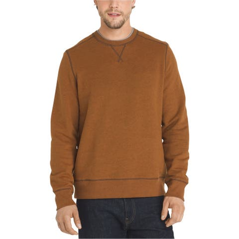 G.H. Bass & Co. Mens Fleece Sweatshirt, Orange, X-Large
