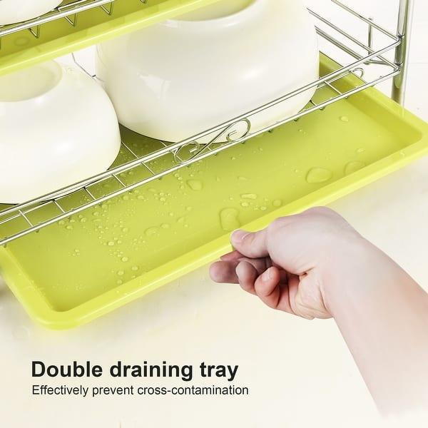 Shop 3 Tier Chrome Dish Drainer Rack Kitchen Storage with ...