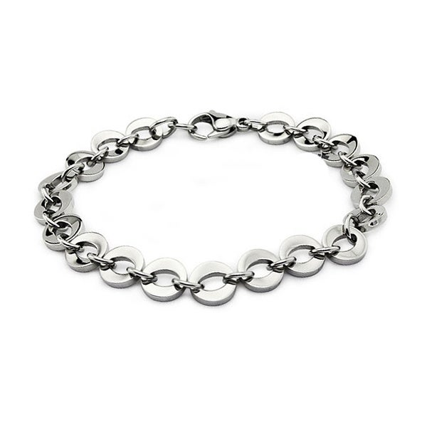 """Stainless Steel Women's """"O"""" Link Bracelet with Lobster Clasp 8 Inches"""
