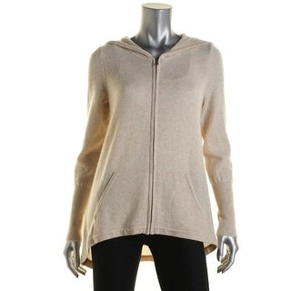 Private Label Womens Cashmere Zip-Front Hooded Sweater