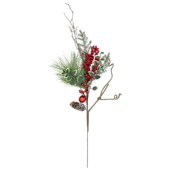 """32"""" Frosted Bells, Berries and Pine Cones Artificial Christmas Spray Decoration - green"""